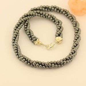 Hematite Beads 16 Inch Silver Necklace